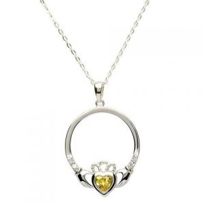 Sterling Silver Citrine Claddagh necklace