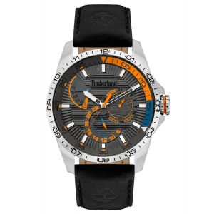 Timberland Oakham Watch with Black Leather Strap and Grey Dial