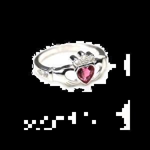 sterling silver & tourmaline cz crystal october birthstone claddagh ring