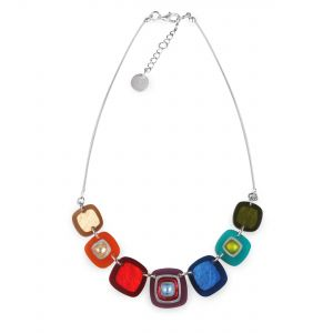 Rainbow Abstract Squares Shiny Trail Necklace
