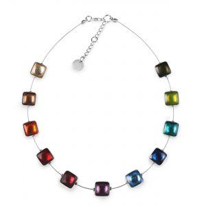 Rainbow Aluminium Squares Shiny Necklace