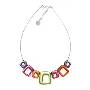 Sherbet Abstract Squares Shiny Necklace