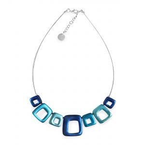 Turquoise Abstract Squares Shiny Necklace