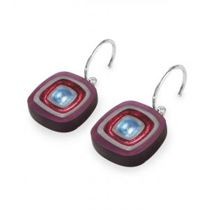 Rainbow Abstract Squares Shiny Creole Earrings