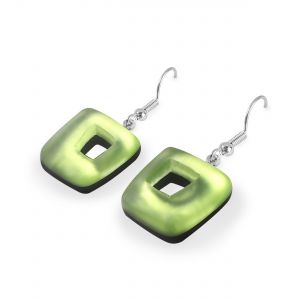 Sherbet Abstract Squares Shiny Fish Hook Earrings
