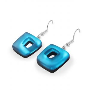 Turquoise Abstract Squares Shiny Fish Hook Earrings
