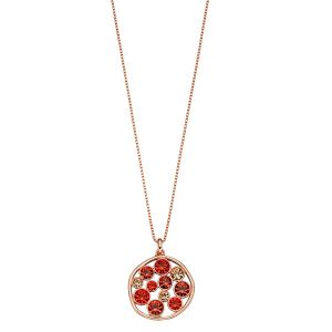 Fiorelli Round Organic Pendant with Hyacinth, Padpardscha and Light Peach Necklace