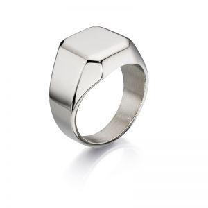 Fred Bennett Stainless steel large plain signet ring