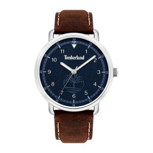 Timberland Robbinston Watch with Brown Leather Strap and Hydraulic Embossed Matte Blue Dial