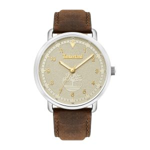 Timberland Robbinston Watch with Tan Leather Strap and Hydraulic Embossed Matte Off-White Dial