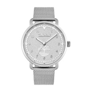 Timberland Watch with Silver Stainless Steel Mesh Strap Hydraulic Embossed Grey Dial