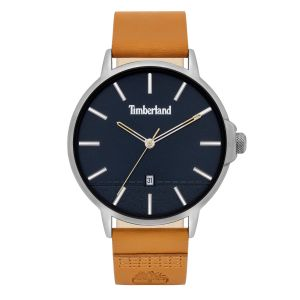Timberland Rollinsford Watch with Interchangable Brown + Wheat Leather Strap and Blue Dial