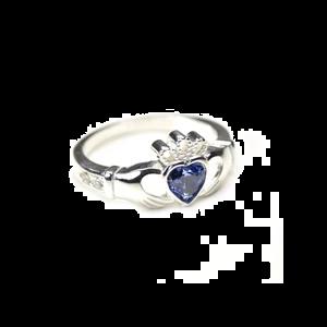 sterling silver & sapphire cz crystal september birthstone claddagh ring