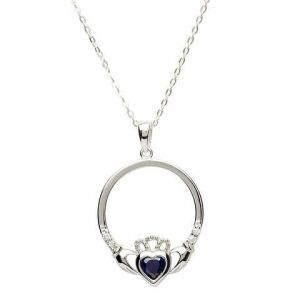 Sterling Silver Claddagh pendant, sapphire blue Claddagh necklace