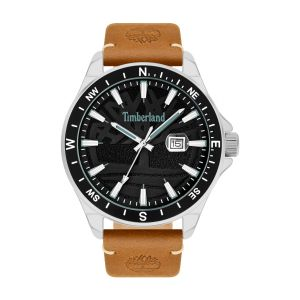 Timberland Swampscott Watch with Tan Leather Strap and Sandblast Black Dial
