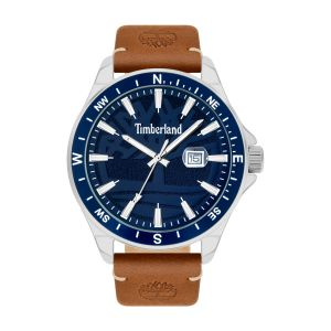 Timberland Swampscott Watch with Brown Leather Strap and Sandblast Navy Dial
