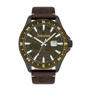 Timberland Swampscott Watch with Brown Leather Strap and Sandblast Khaki Dial
