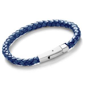 Tribal Men's Plaited Bolo Leather Bracelet Blue