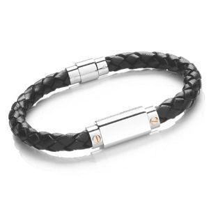 Tribal Men's Bolo Leather and Stainless Steel Bracelet Black