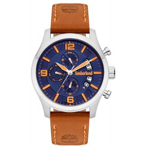 Timberland Westborough Watch with Brown Leather Strap and Blue Dial