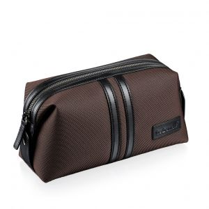 Fred Bennett Brown Canvas washbag with microfibre trim