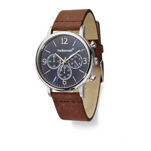 Fred Bennett Watch wide brown leather strap and black dial