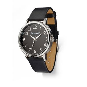 Fred Bennett Watch black leather strap and simple black dial
