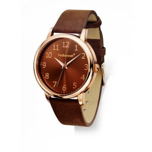 Fred Bennett Watch brown leather strap and simple rose gold dial