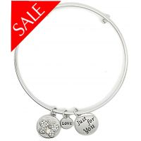 Sentiment Silver Crystal Butterfly Just for You Bangle