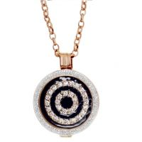 Karine & Co. Rose Gold and Black Crystal Coin Long Necklace