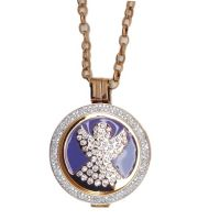 Karine & Co. Rose Gold Crystal Guardian Angel Coin Long Necklace